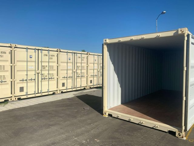 End view BJS Storage 20 foot container